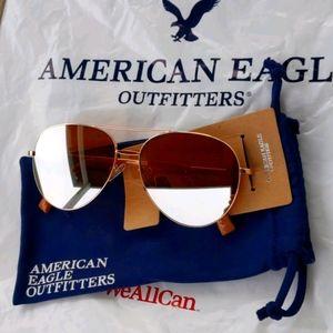 AEO Rose Gold Aviator Sunglasses With Bag